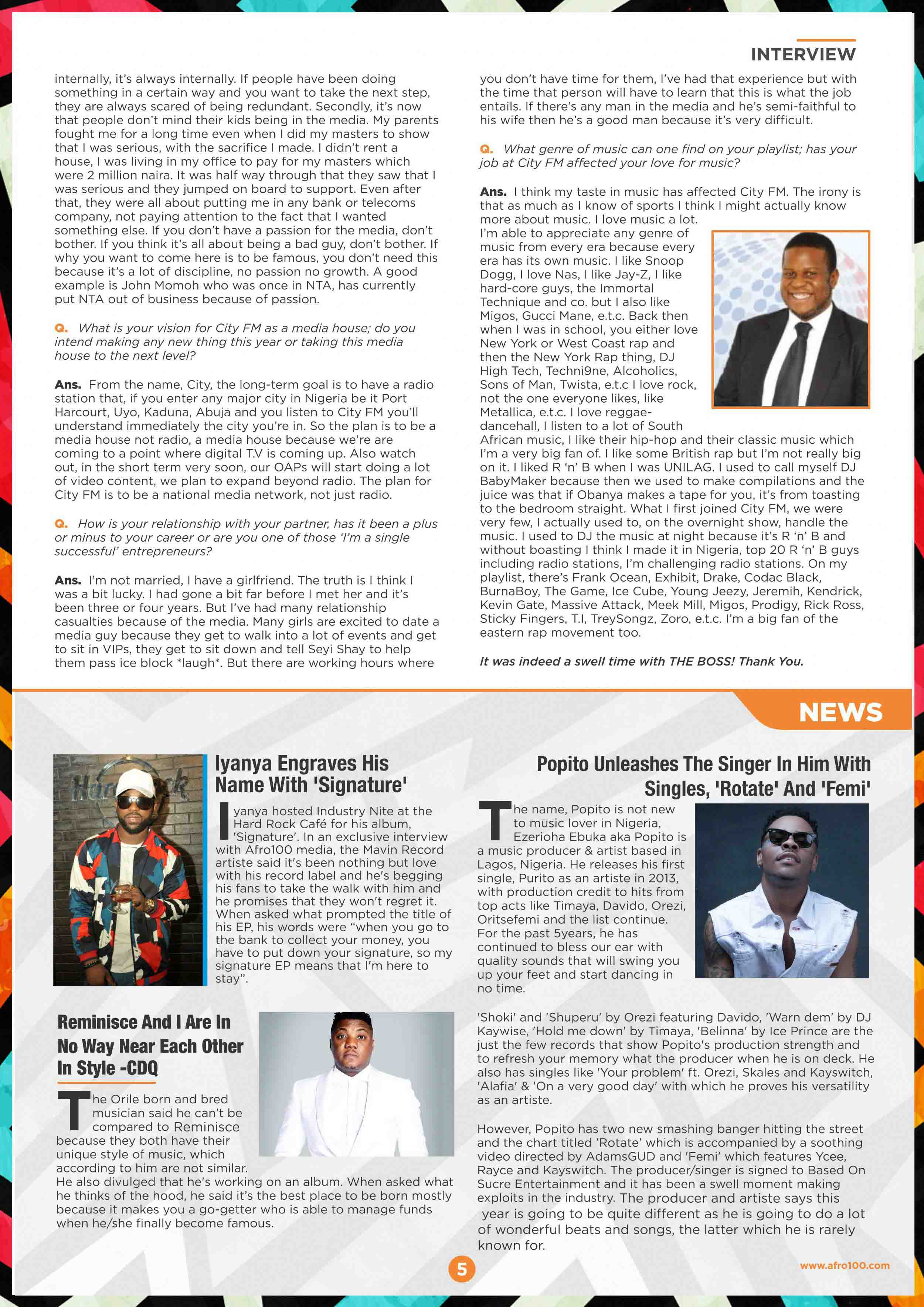 Afro100 newsletter inside page